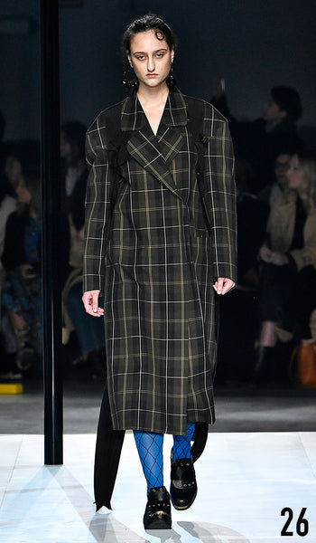 Preen by Thornton Bregazzi AW19 runway show look 26 Jess Maybury is wearing Claire Coat.