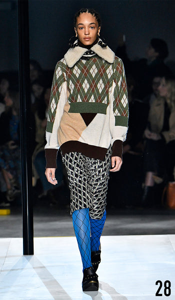 Preen by Thornton Bregazzi AW19 runway show look 28 Indira Scott is wearing Charlie Knit, Kate Collar and Catalina Skirt.