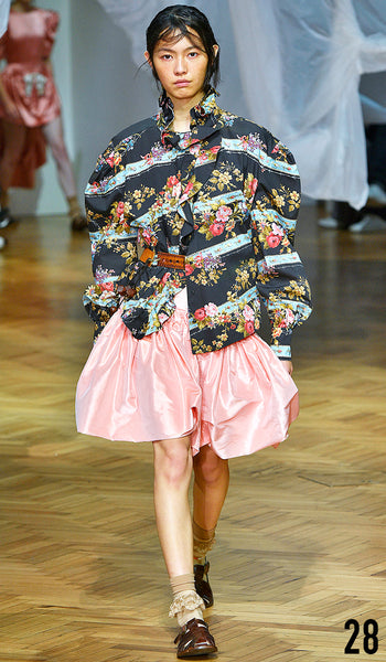 PREEN BY THORNTON BREGAZZI SS19 LOOK 28 JIA LI IS WEARING AGNES SHIRT AND RITA SKIRT WITH INDIRA SANDAL.