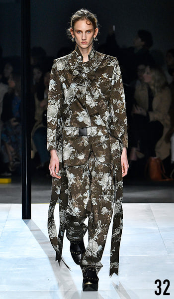 Preen by Thornton Bregazzi AW19 runway show look 32 Sarah Berger is wearing Gillian Jacket and Fauna Trouser.