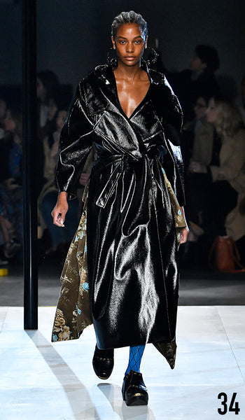 Preen by Thornton Bregazzi AW19 runway show look 34 Karly Loyce is wearing Ibbie Dress and Ensley Coat.