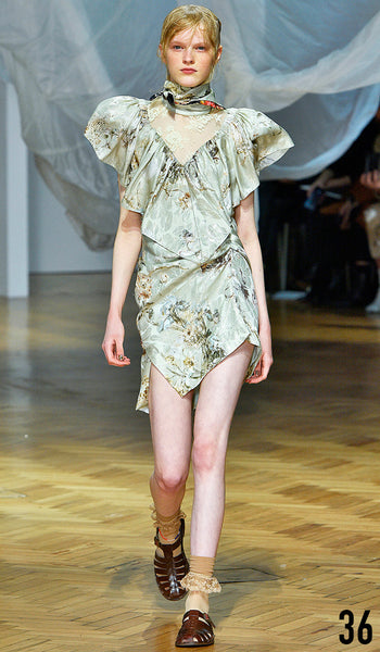 PREEN BY THORNTON BREGAZZI SS19 LOOK 36 HANNAH MOTLER IS WEARING BEE DRESS WITH INDIRA SANDAL.