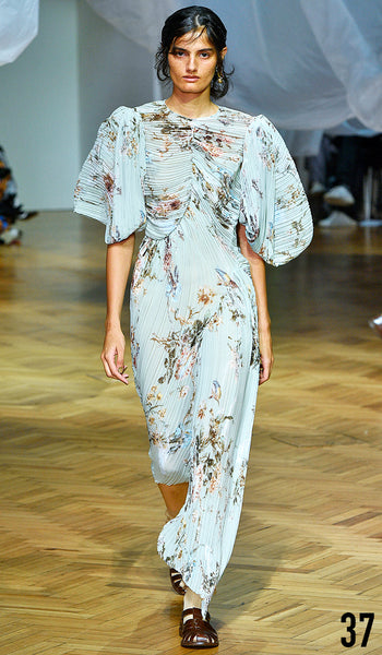 PREEN BY THORNTON BREGAZZI SS19 LOOK 37 DIPTI SHARMA IS WEARING TESSA DRESS WITH INDIRA SANDAL.
