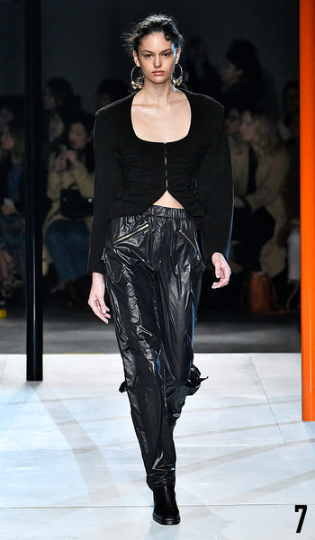 Preen by Thornton Bregazzi AW19 runway show look 7 Nikki Vonsee is wearing Halle Jacket and Benjamin trouser.