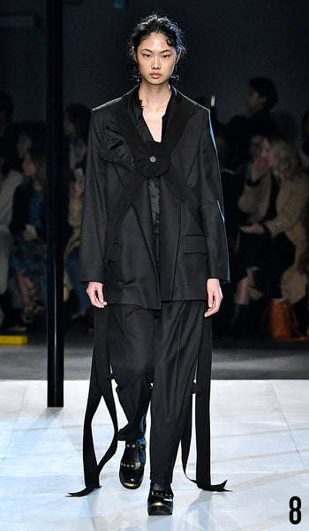 Preen by Thornton Bregazzi AW19 runway show look 8 Sijia Kang is wearing Inge Jacket and Larine Trouser.