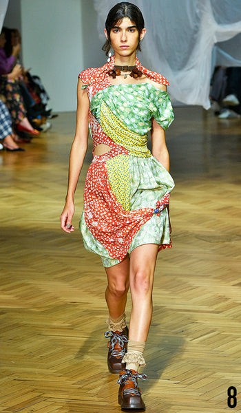 PREEN BY THORNTON BREGAZZI SS19 LOOK 8 REBECA SOLANA IS WEARING MONICA DRESS AND NECK SCARF WITH ZEN BOOT.