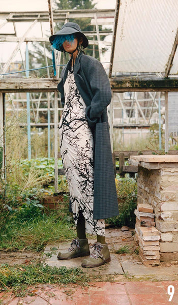 Preen By Thornton Bregazzi Pre-Fall 2019 Look 9 Alice dress and Raelynn Coat with Naomi Hat and Sofia Boot.