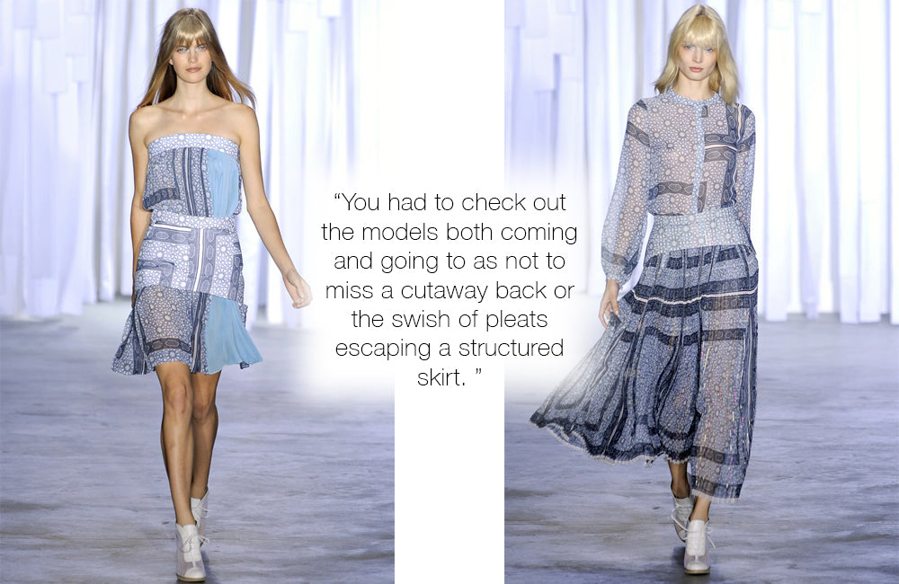 You had to check out the models both coming and going to as not to miss a cutaway back or the swish of pleats escaping a structured skirt.