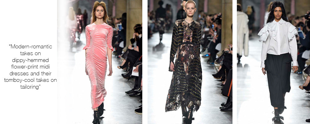 modern-romantic takes on dippy-hemmed flower-print midi dresses and their tomboy-cool takes on tailoring
