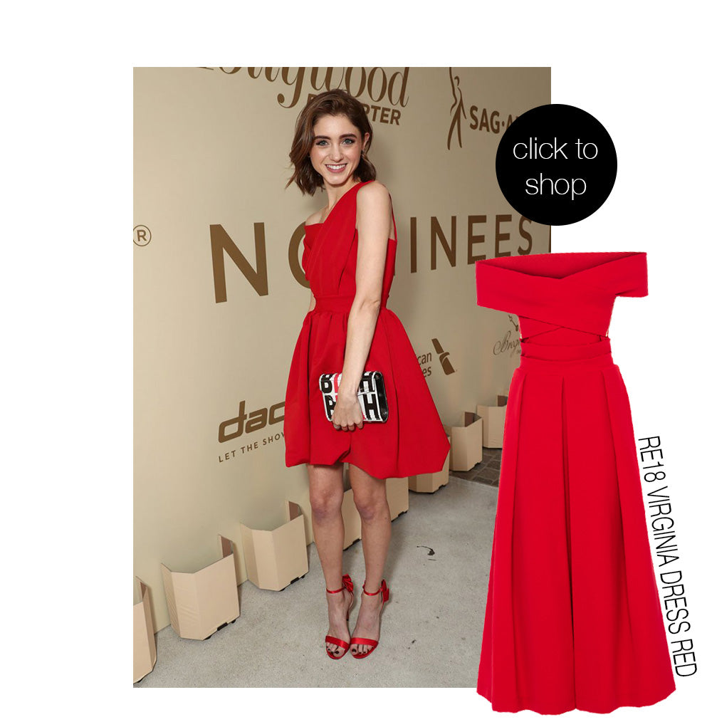 Natalia Dyer wearing stunning red Preen By Thornton Bregazzi mini dress