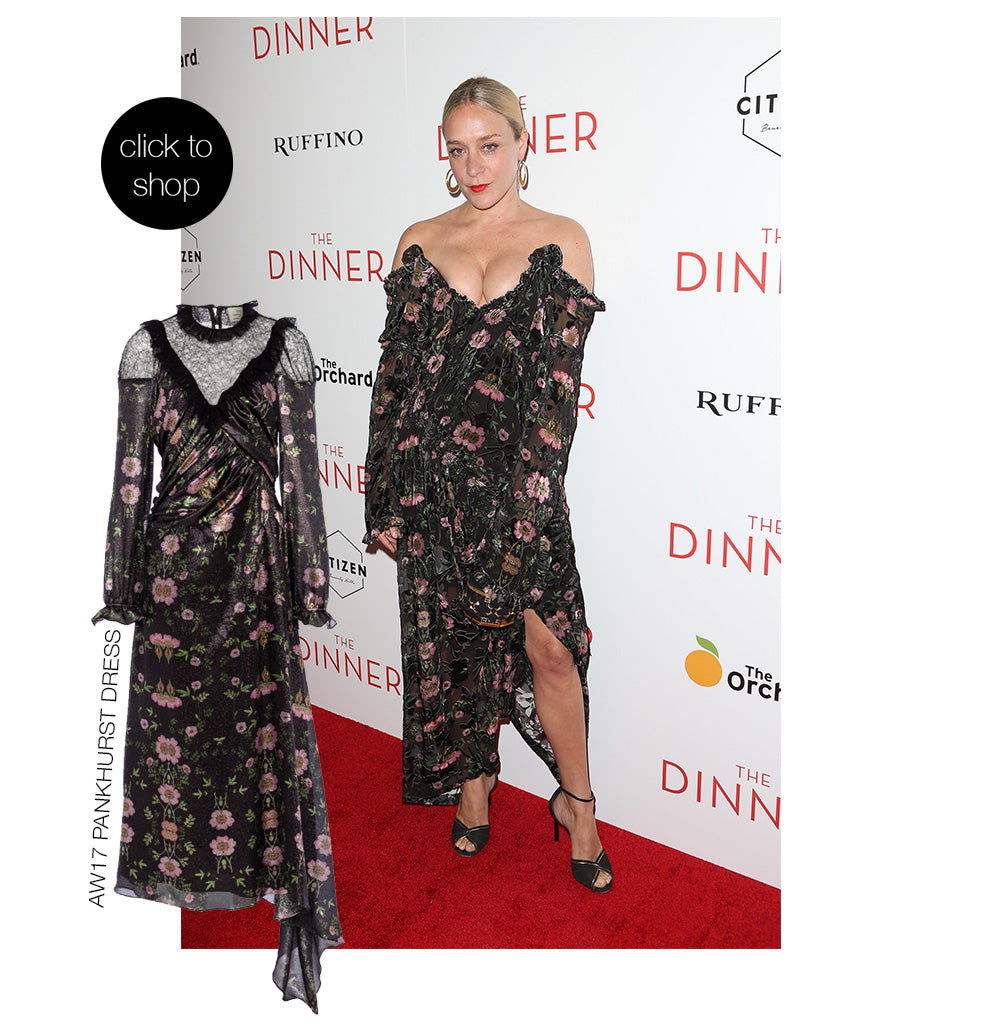 Chloe Sevigny wears knockout designer Preen By Thornton Bregazzi floral print structured full length dress