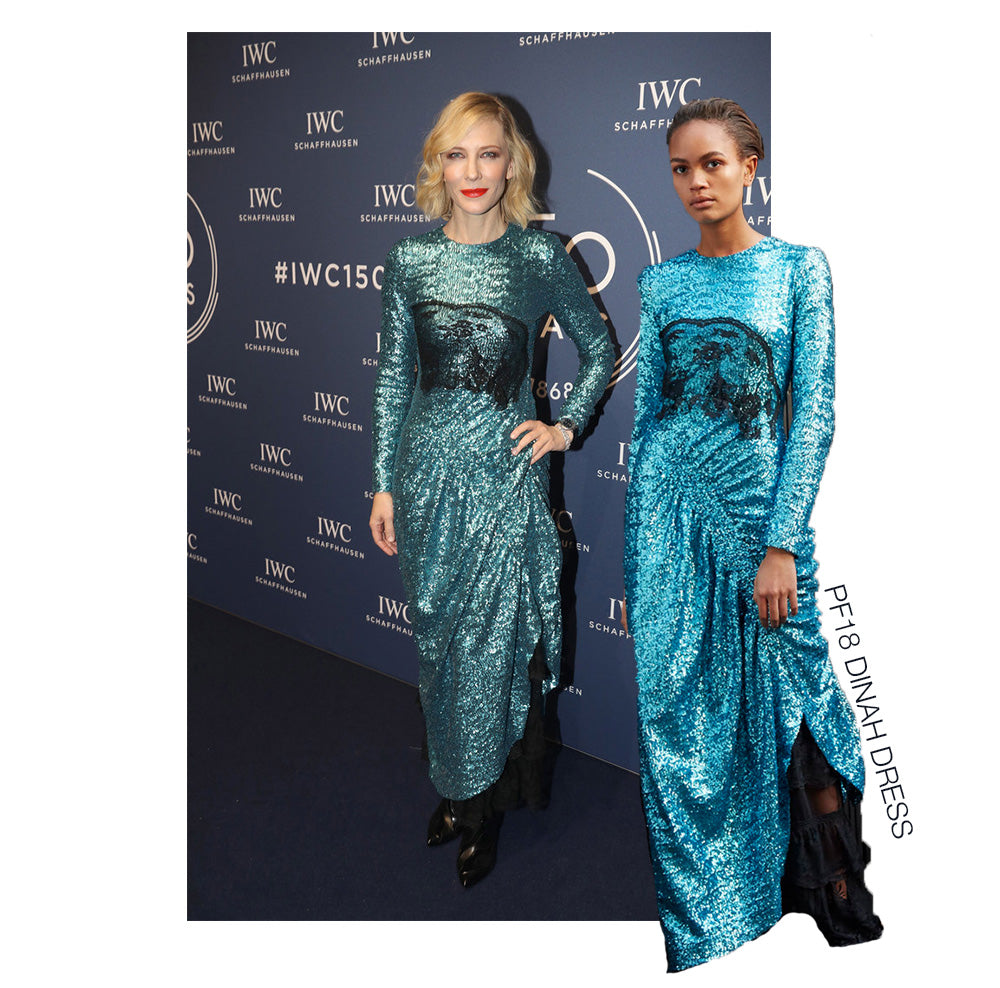 Cate Blanchett looks divine in the luxury Preen By Thornton Bregazzi teal sequin and lace Dinah Dress