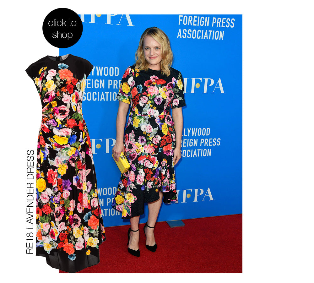 Elisabeth Moss wearing stunning floral Preen By Thornton Bregazzi Lavender Dress