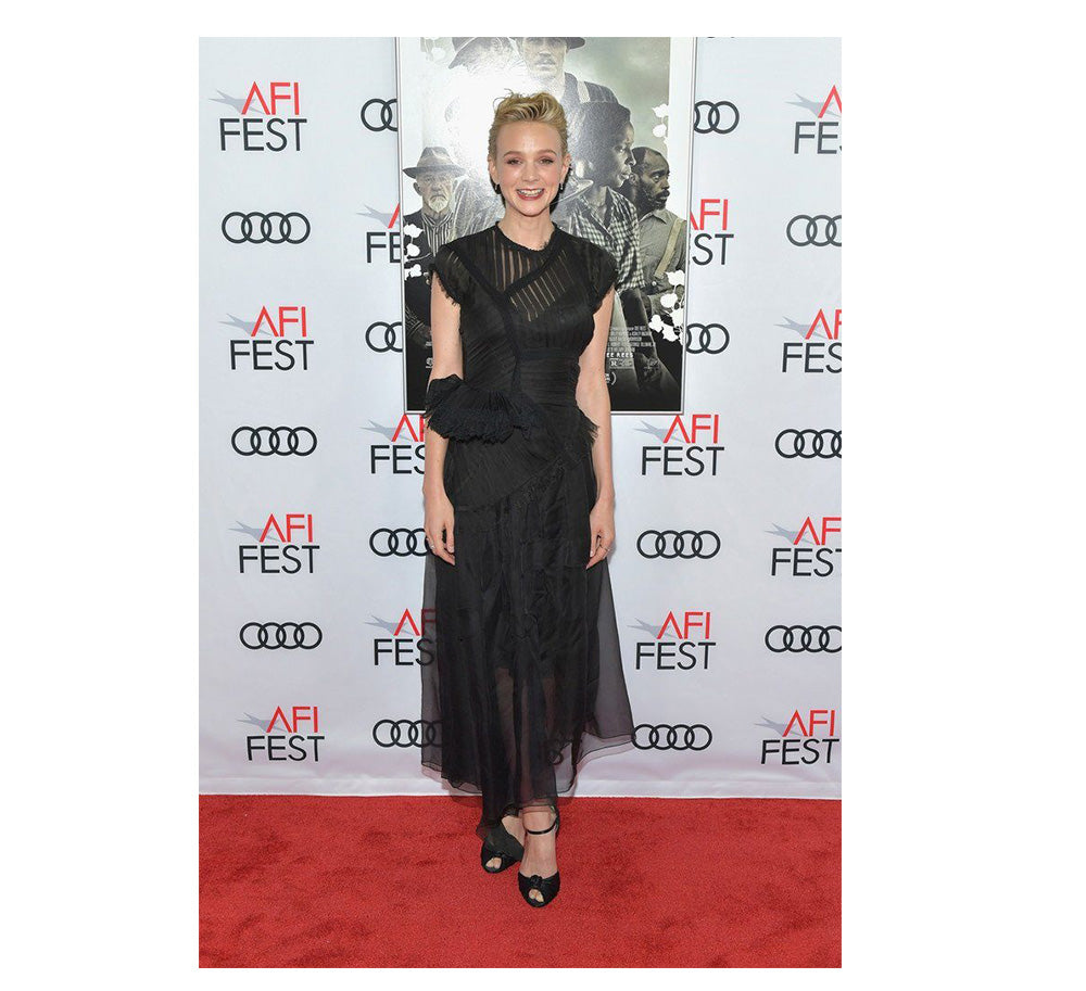 Carey Mulligan wears luxury sheer Preen By Thornton Bregazzi detailed Fredrica Occasion Dress