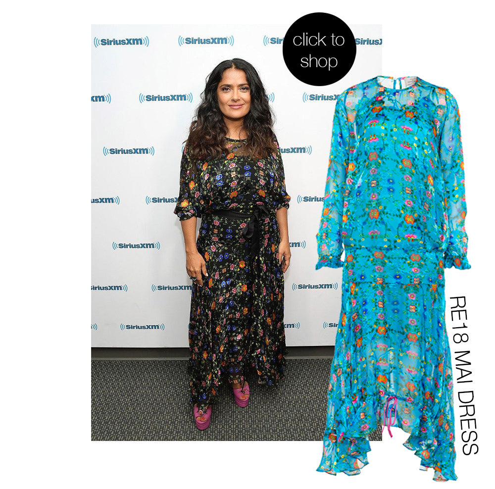 Salma Hayek wearing Preen By Thornton Bregazzi clssic floral print full length dress