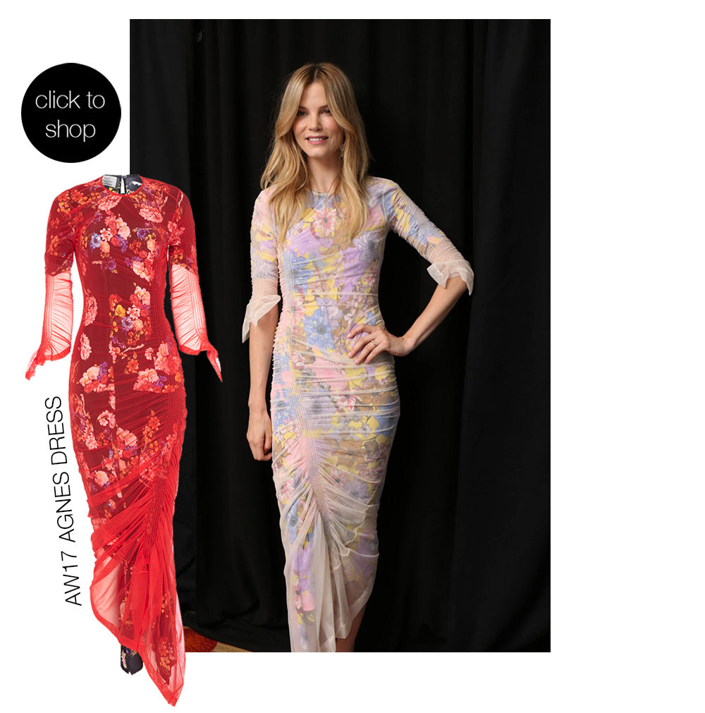 Sylvia Hoeks wears designer Preen By Thornton Bregazzi lace and floral dress