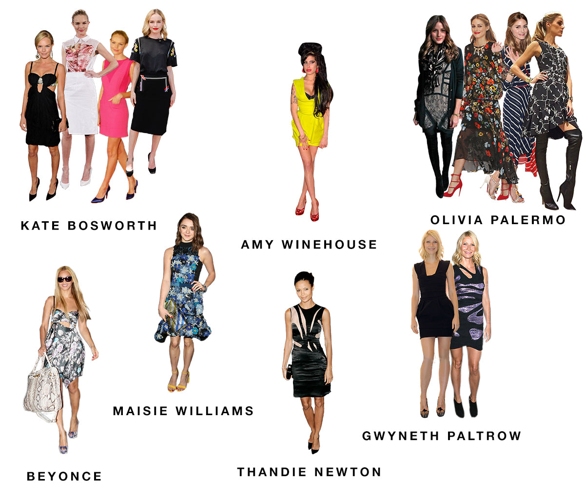 Kate Bosworth, Amy Winehouse, Olivia Palermo, Beyonce, Maisie Williams, Thandie Newton and Gwyneth Paltrow in Preen