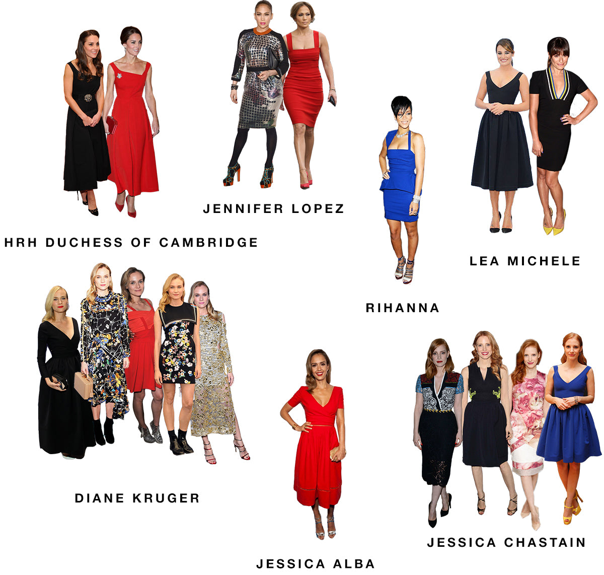 Kate Middleton, Jennifer Lopez, Rihanna, Lea Michele, Diane Kruger, Jessica Alba and Jessica Chastain in Preen