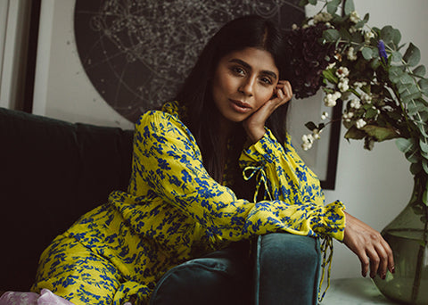 Preen Line Diaries Miss October Monikh Dale in Resort 18 yellow dress