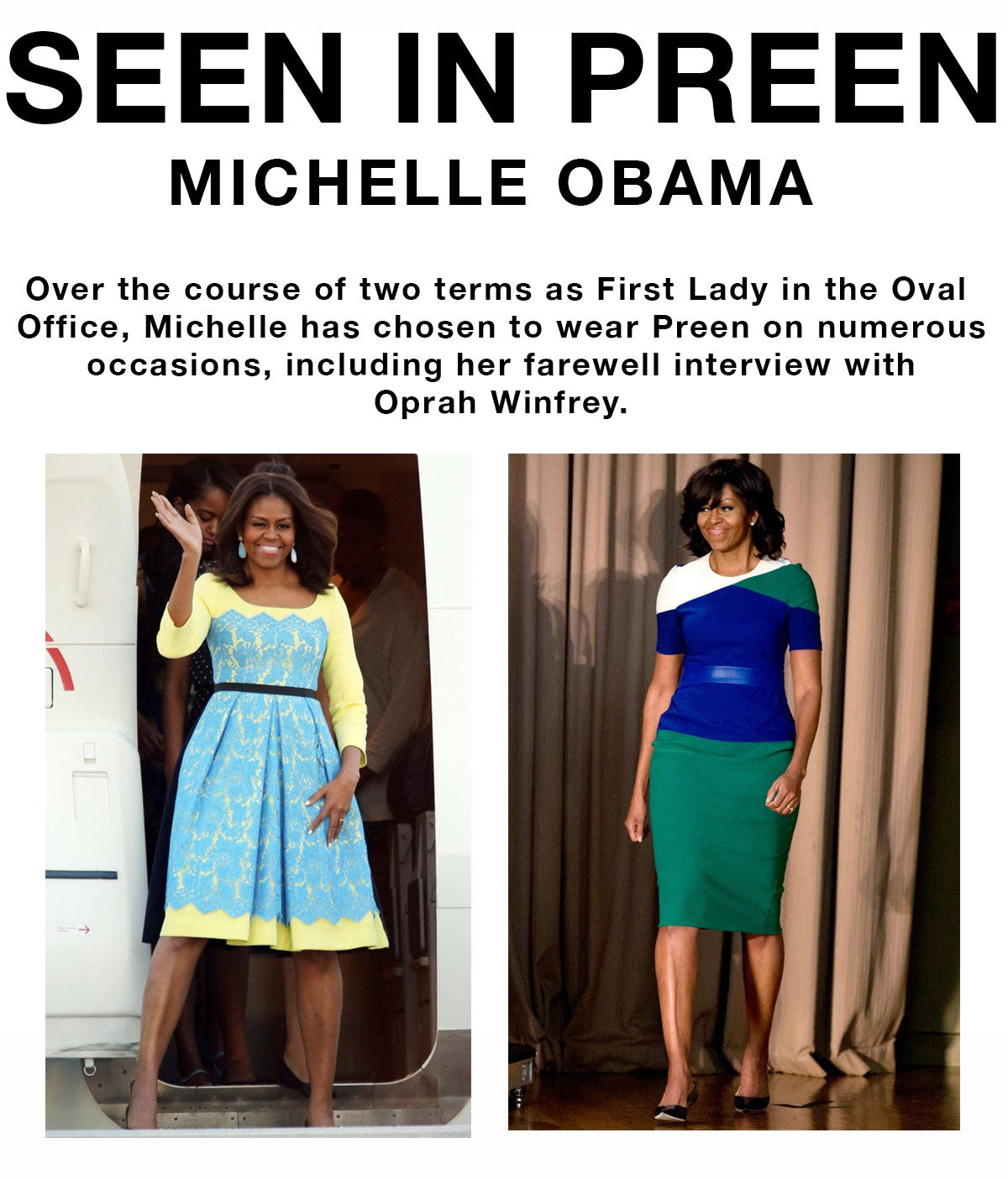 Michelle Obama seen in Preen