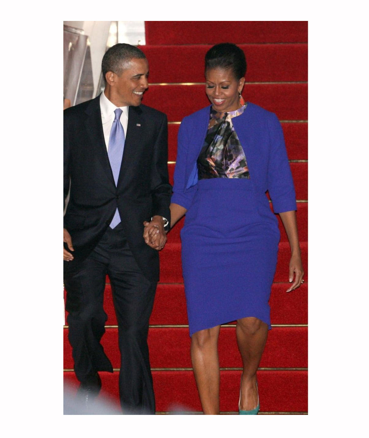 Michelle Obama wearing blue Preen dress