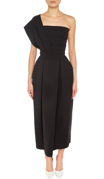 PREEN BY THORNTON BREGAZZI LUXURY DESIGNER BLACK ACE EVENT DRESS WITH CINCHED WAIST AND ONE SHOULDER NECKLINE ON SALE