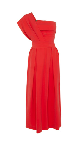 PREEN BY THORNTON BREGAZZI LUXURY DESIGNER RED ACE EVENT DRESS WITH CINCHED WAIST AND ONE SHOULDER NECKLINE ON SALE