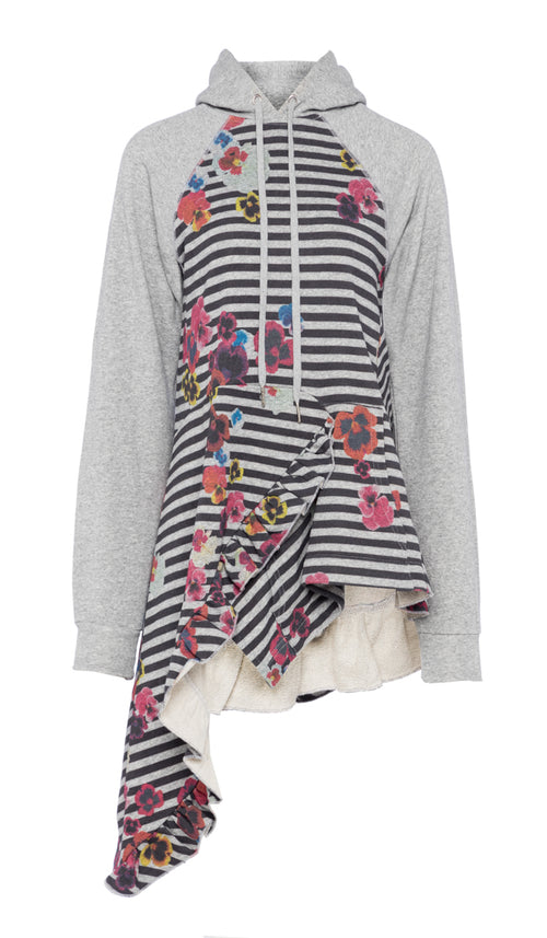 PREEN LINE LUXURY DESIGNER GREY DELIA HOODIE WITH FRILL HEMLINE AND MULTICOLOURED PANSIE PRINT ON SALE