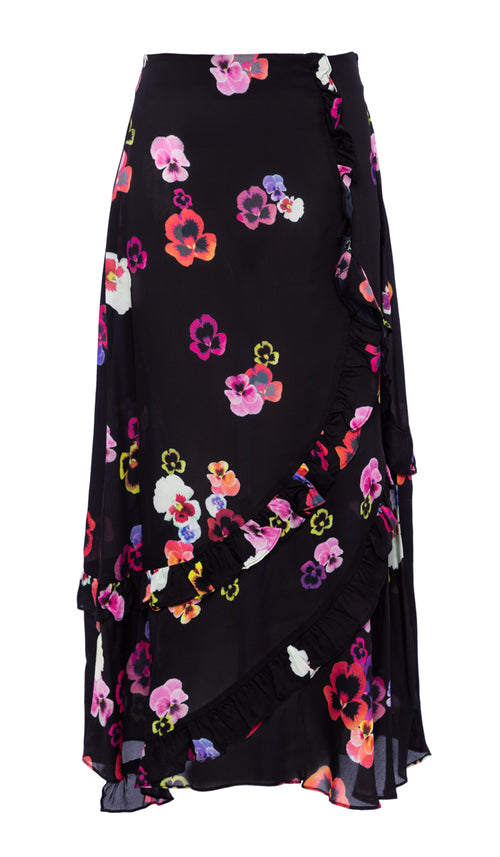 PREEN LINE LUXURY DESIGNER MID LENGTH FLORAL SCATTERED PANSY PRINT HATTIE SKIRT ON SALE