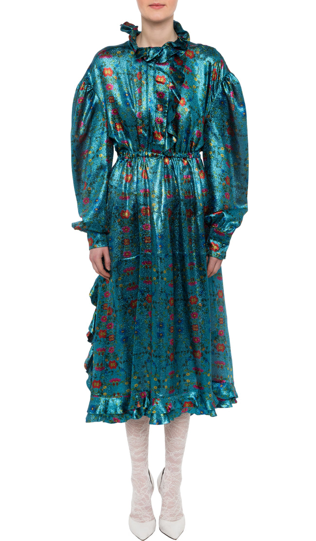 PREEN BY THORNTON BREGAZZI LUXURY DESIGNER SHINY TURQUOISE WILD ROSE PRINT LINNET DRESS FEATURING ELASTICATED WAIST PIECRUST COLLAR AND BILLOWING LONG SLEEVES ON SALE