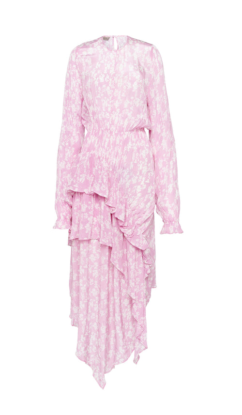 PREEN LINE LUXURY DESIGNER PINK BOTANICAL PRINT EDEN DRESS WITH TIERED ASYMMETRIC SKIRT ON SALE