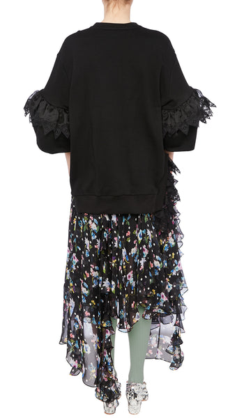 PREEN BY THORNTON BREGAZZI LUXURY DESIGNER BLACK POLKA DOT FLORAL PRINT INES SKIRT WITH HANDKERCHIEF HEM AND FRILL LAYERS ON SALE
