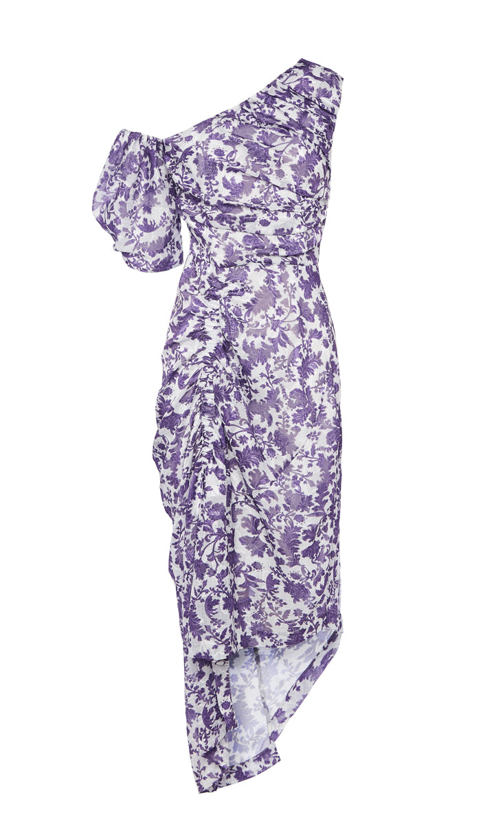 PREEN BY THORNTON BREGAZZI LUXURY DESIGNER OFF THE SHOULDER PUPRPLE BROCADE PRINTED NICOLE DRESS WITH PUFF SLEEVES AND FORM FITTING SILHOUETTE ON SALE