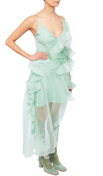 PREEN BY THORNTON BREGAZZI LUXURY DESIGNER SHEER PISTACHIO VERONIQUE DRESS WITH CRYSTAL STRAP SLEEVE AND DRAMATIC RUFFLES ON SALE