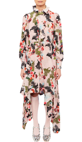 PREEN BY THORNTON BREGAZZI LUXURY DESIGNER PINK ETCHED FLORAL PRINT MEERA DRESS WITH PIE CRUST COLLAR, OFF CENTRE FRILL AND BILLOWING SLEEVES ON SALE