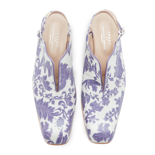 PREEN BY THORNTON BREGAZZI LUXURY DESIGNER PURPLE BROCADE PRINTED LEATHER SLING BACK BROGUE WITH V SPLIT AND CRYSTAL BUCKLE FASTENING ON SALE