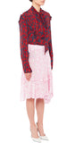 PREEN LINE LUXURY DESIGNER MIDLENGTH SWING WRAP AROUND LUNA SKIRT IN PINK BOTANICAL PRINT ON SALE