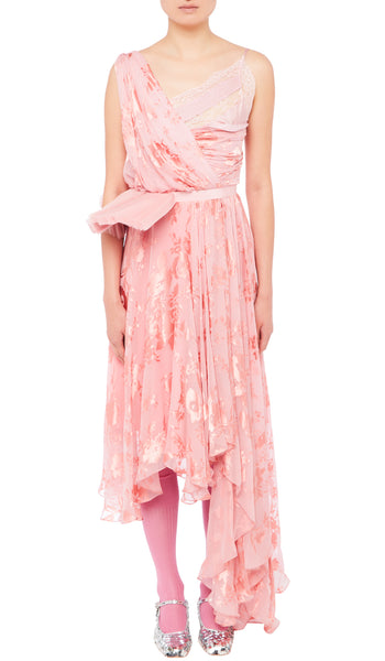 PREEN BY THORNTON BREGAZZI LUXURY DESIGNER SLEEVELESS PINK ELEONORA DRESS WITH LACE AT THE NECKLINE AND DETACHABLE RUFF BELT ON SALE