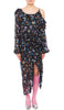 PREEN BY THORNTON BREGAZZI LUXURY DESIGNER OFF SHOULDER COSMOS DRESS IN BLACK POLKA DOT FLORAL PRINT FEATURING BILLIOWING SLEEVES, RUCHING AND SKIRT SPILT ON SALE