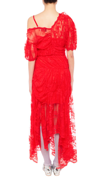 PREEN BY THORNTON BREGAZZI LUXURY DESIGNER RED LACE TESSIE EVENT DRESS WITH OFF SHOULDER NECKLINE AND PUFF SLEEVES ON SALE