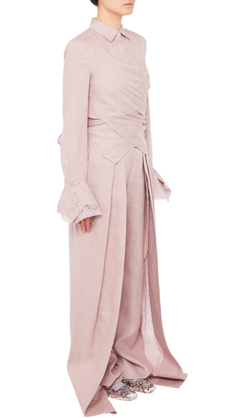 PREEN BY THORNTON BREGAZZI LUXURY DESIGNER LILAC TARO SHIRT WITH WRAP AROUND SILHOUETTE AND TIE FASTENING FEATURING FLUTED LACE TRIMMED SLEEVES AND STIFF LACE COLLAR ON SALE