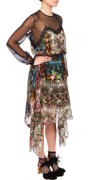 PREEN BY THORNTON BREGAZZI LUXURY DESIGNER SILK SATIN DEVORE LAYERED DRESS WITH SILK AND LACE SLIP IN FLORAL SNAKE PRINT OVER SHEER UNDER LAYER