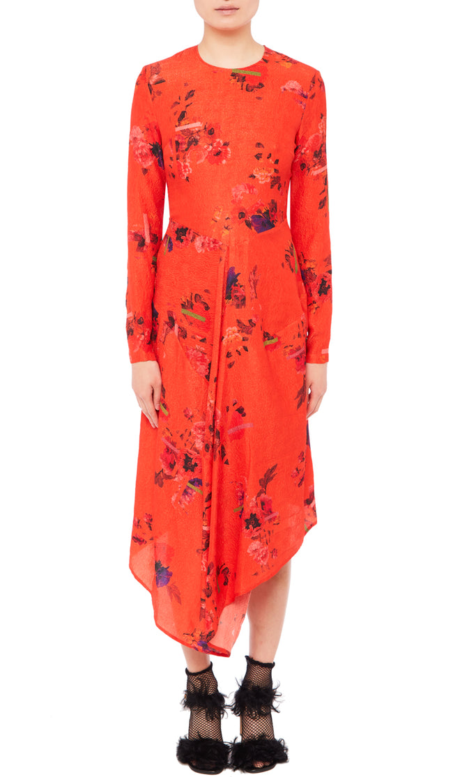 PREEN BY THORNTON BREGAZZI LUXURY DESIGNER HAMMERED ROSE SILK IN POSY PRINT ON TOMATO RED BASE WITH ASYMMETRIC SKIRT AND LONG SLEEVES