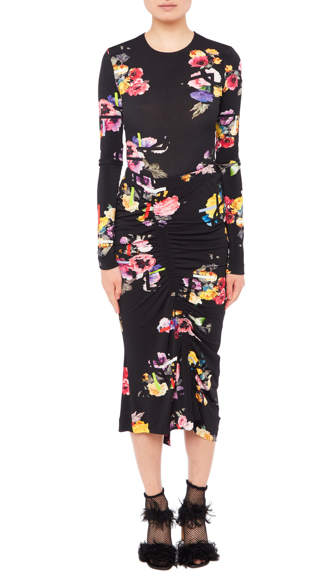 PREEN BY THORNTON BREGAZZI LUXURY DESIGNER STRETCH CREPE FLORAL POSEY PRINT PENCIL SKIRT WITH RUCHING AND SMALL FRONT SPLIT