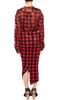 PREEN BY THORNTON BREGAZZI LUXURY DESIGNER RED CHECK PRINTED VELOUR HIGH WAIST FITTED PENCIL SKIRT WITH RUCHING AND FRONT SPLIT