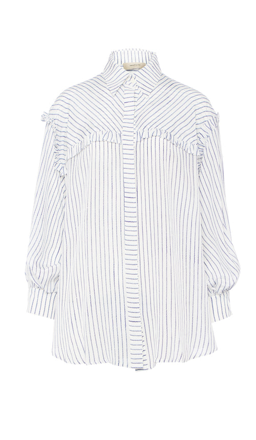 PREEN LINE LUXURY DESIGNER PIN STRIPE PRINT EVELYN BLOUSE WITH CROPPED SLEEVES AND FRILL DETAILING ON SALE