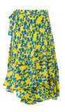 PREEN LINE LUXURY DESIGNER MIDLENGTH SWING WRAP AROUND LUNA SKIRT IN YELLOW BOTANICAL PRINT ON SALE