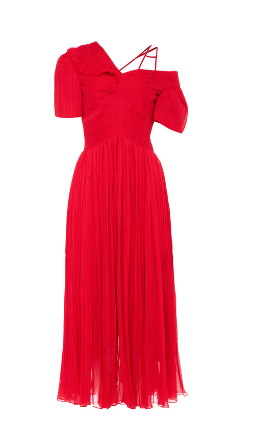 PREEN BY THORNTON BREGAZZI LUXURY DESIGNER PLEATED SILK RED CYRA DRESS WITH ASYMMETRIC OFF SHOULDER PUFF SLEEVES ON SALE