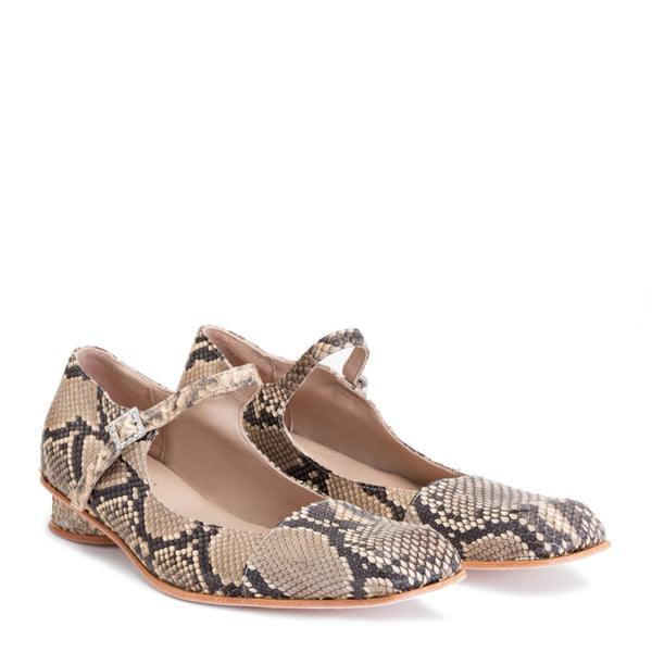 PREEN BY THORNTON BREGAZZI LUXURY DESIGNER PYTHON LEATHER LOW DOLLY SHOE PYTHON WITH CHUNKY HEEL AND CRYSTAL BUCKLE FASTENING ON SALE