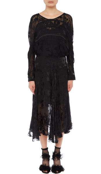 PREEN BY THORNTON BREGAZZI LUXURY DESIGNER SILK SATIN DEVORE LONG SLEEVED BLACK FLORAL DRESS WITH DELICATE V BACK AND LOOSELY TAILORED SLEEVES